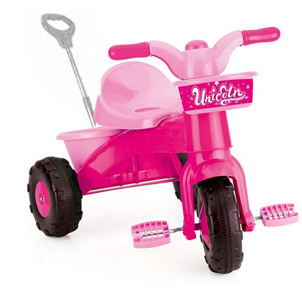 Tricicleta cu maner My First Trike Dolu Unicorn, Roz