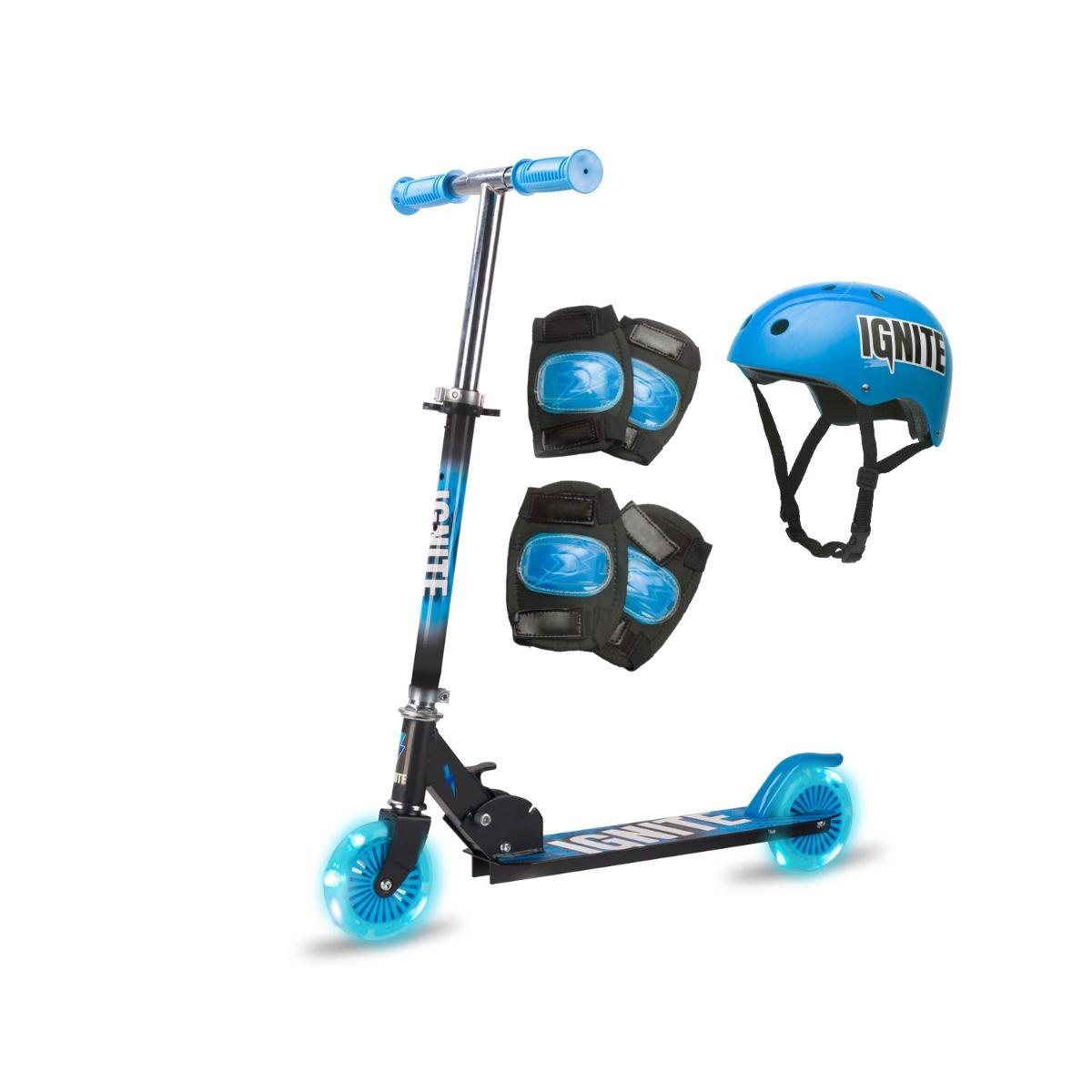 Trotineta pliabila cu 2 roti si echipament de protectie Ignite, Albastru
