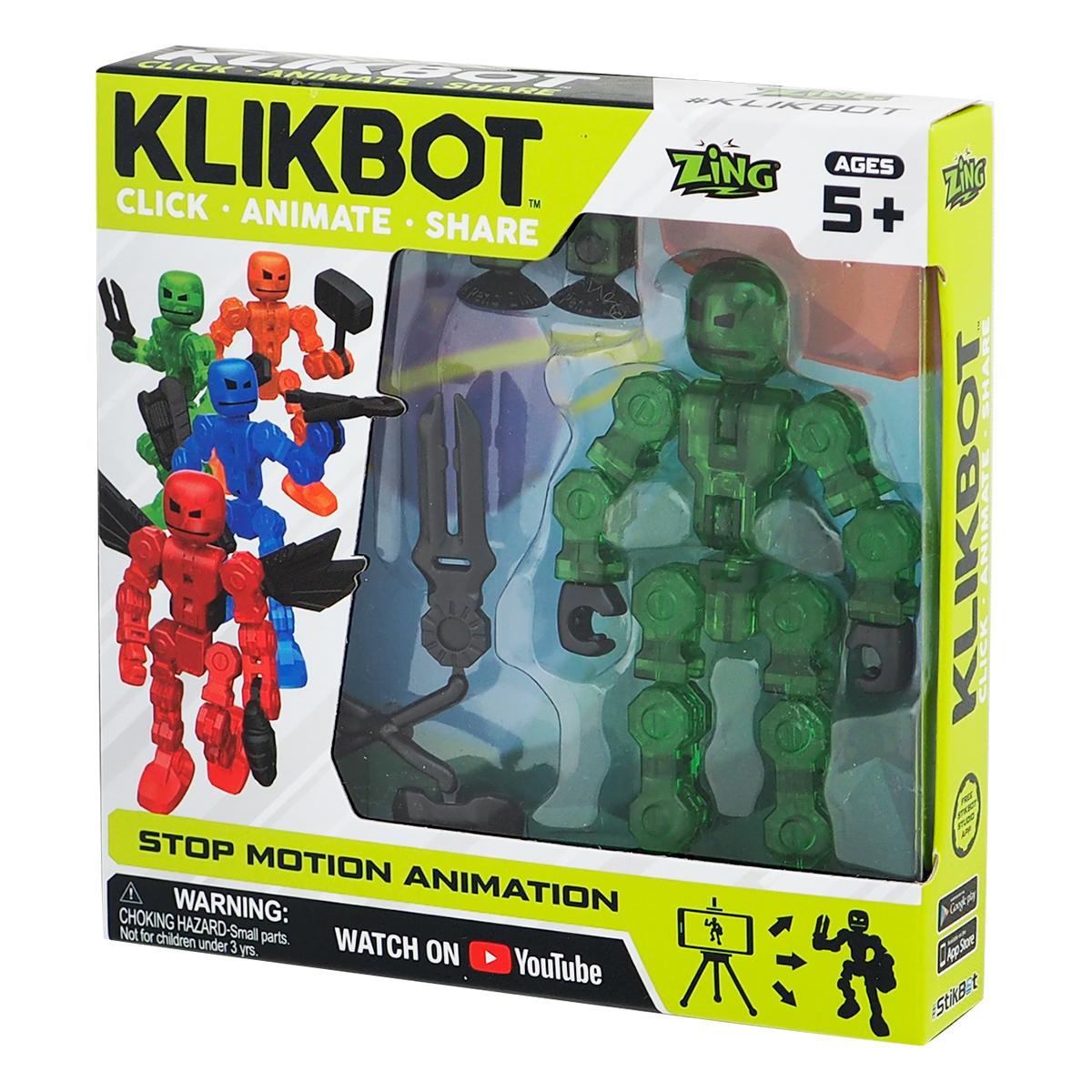Figurina Robot articulat transformabil KlikBot, Green