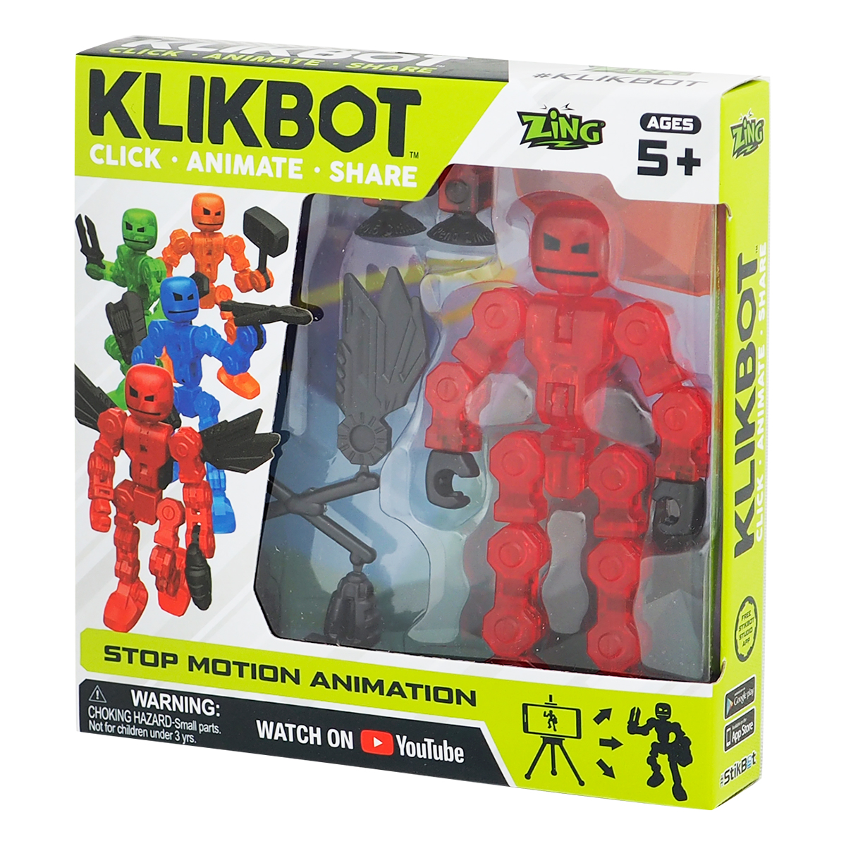 Figurina Robot articulat transformabil KlikBot, Red