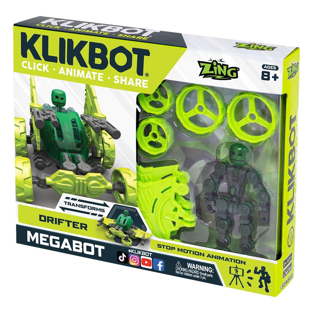 Set Figurina Robot articulat transformabil KlikBot Megabots Drifter, Green