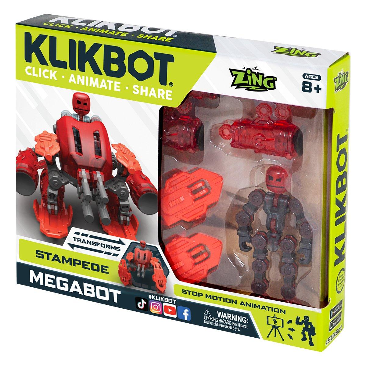 Set Figurina Robot articulat transformabil KlikBot Megabots Stampede, Red