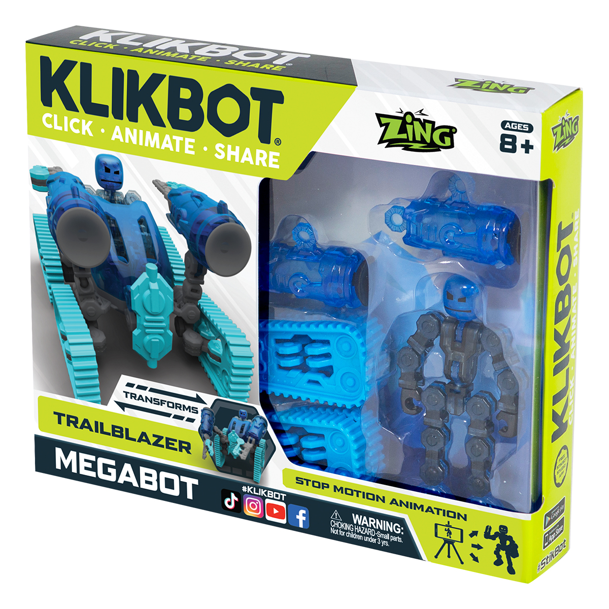 Set Figurina Robot articulat transformabil KlikBot Megabots Trailblazer, Blue