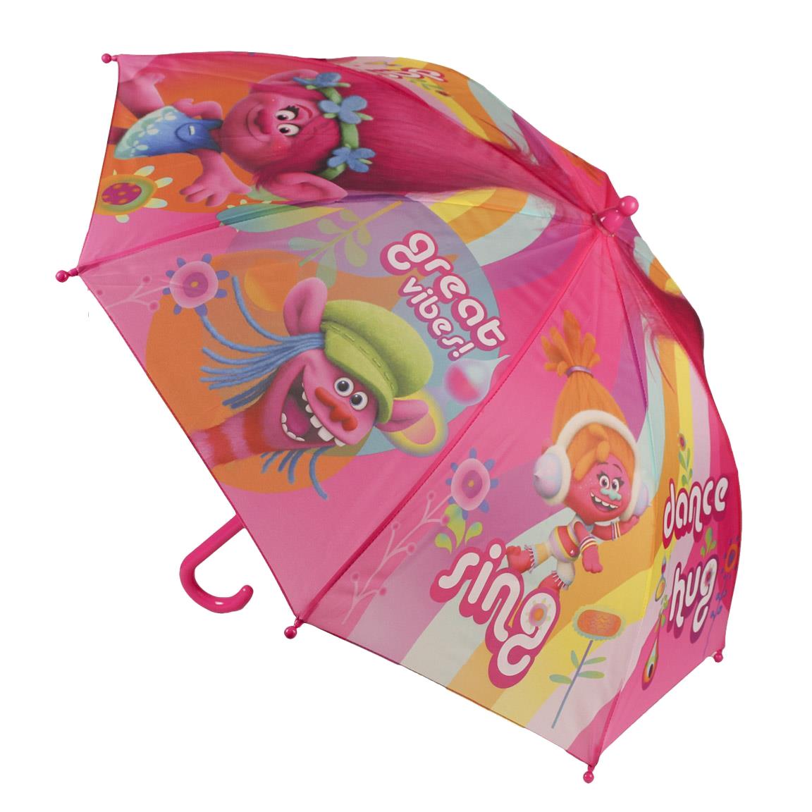 umbrela trolls, 42 cm, roz