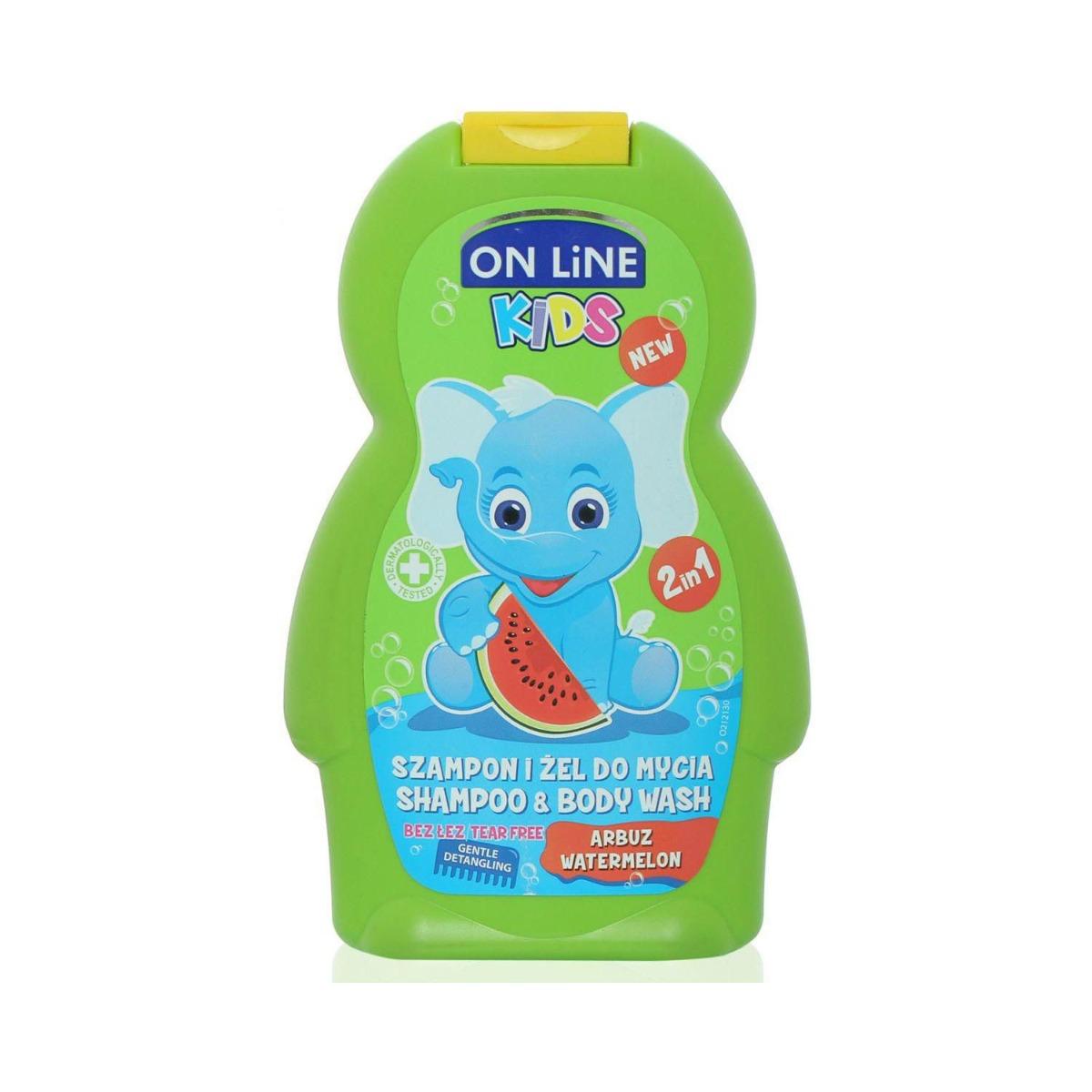 Sampon, Gel de dus On Line Kids, Pepene Verde, 250 ml