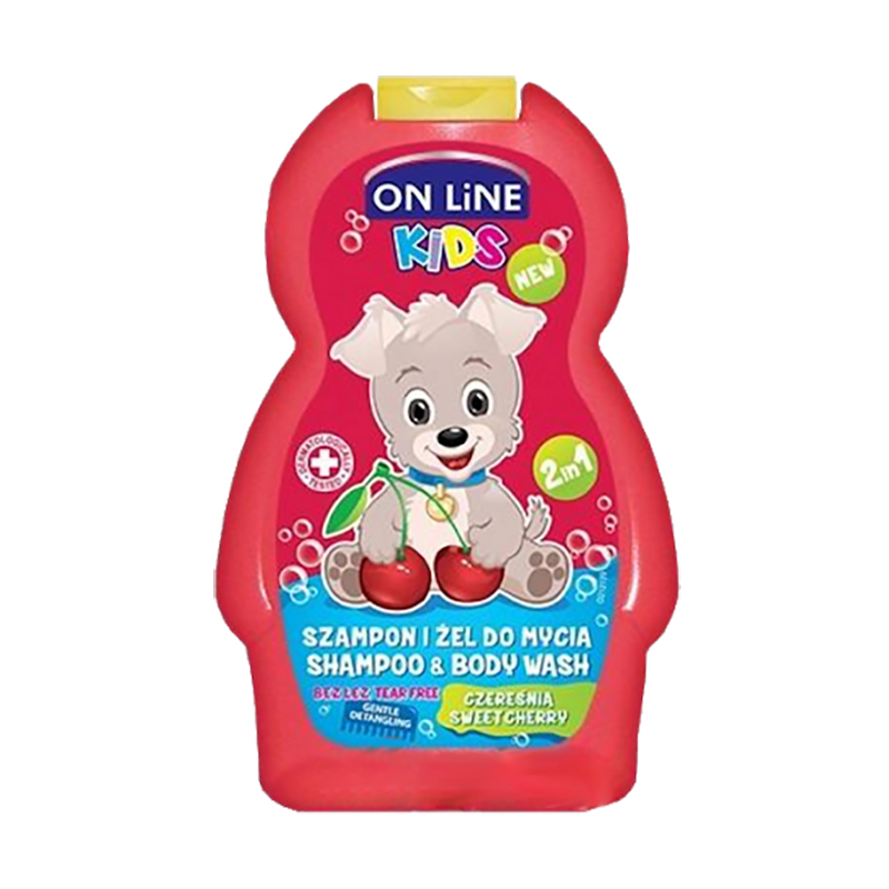 Sampon si Gel de dus pentru copii On Line Kids Cherry, 250 ml imagine 2021