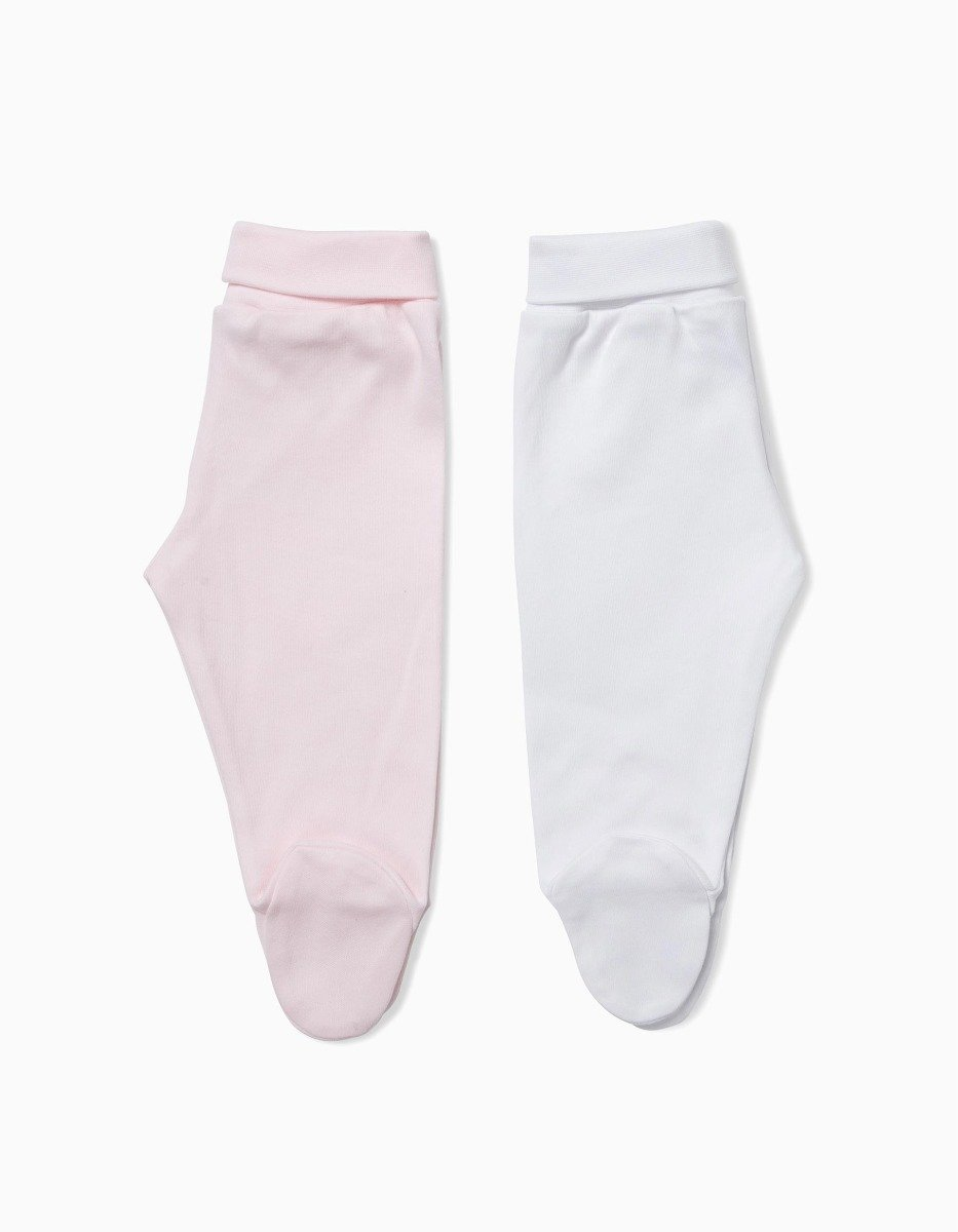 Set 2 pantaloni bebe roz/alb Zippy