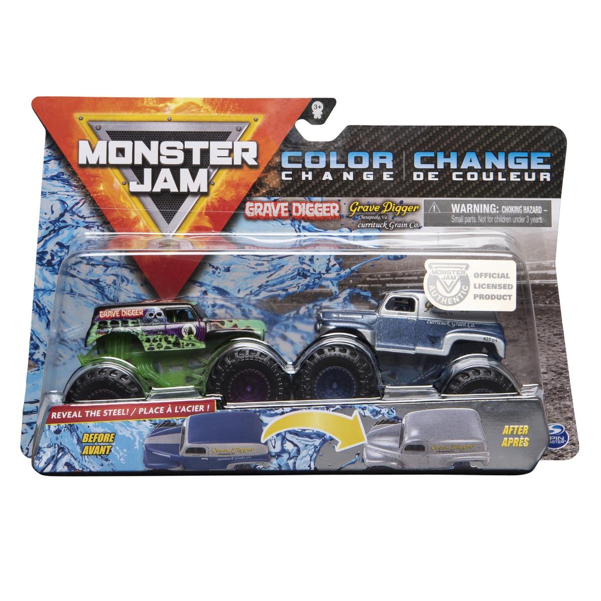 Set 2 masini Monster Jam, Scara 1:64, Grave Digger si Grave Digger Chesapeake