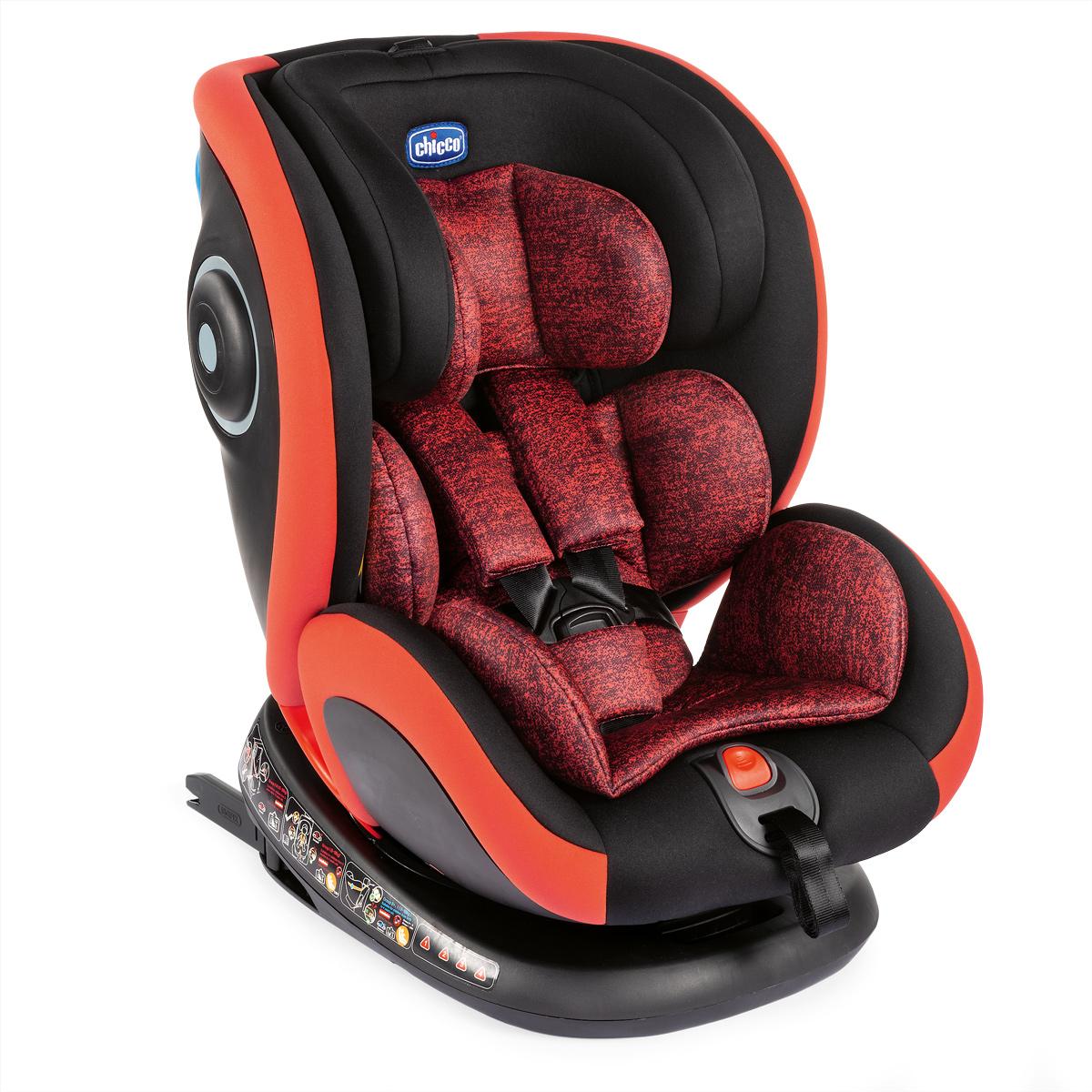Scaun auto cu isofix, rotativ, Chicco Seat4fix, grupa 0+/1/2/3, 0-36 kg, Negru-Rosu imagine