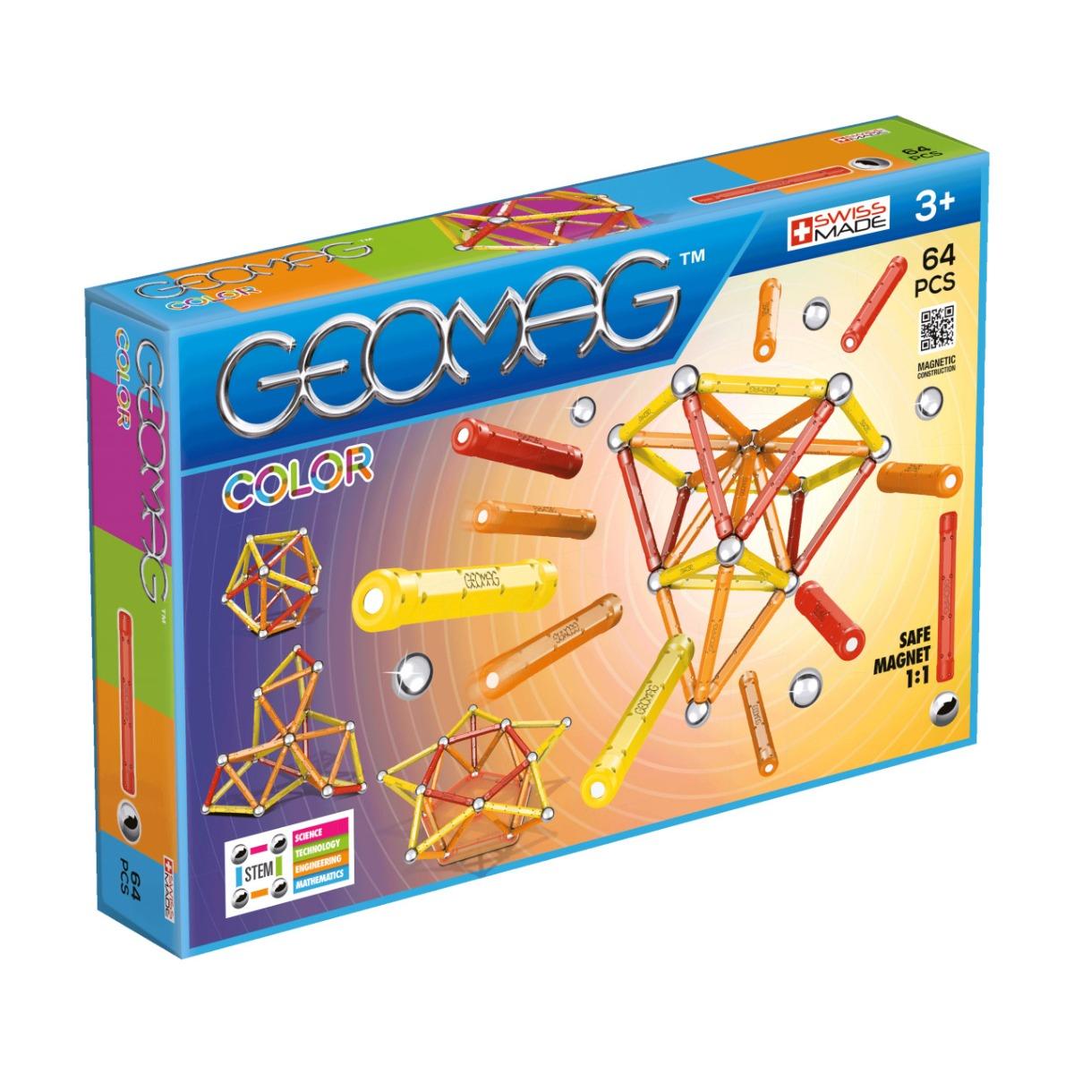 Joc de constructie magnetic Geomag Color. 64 piese