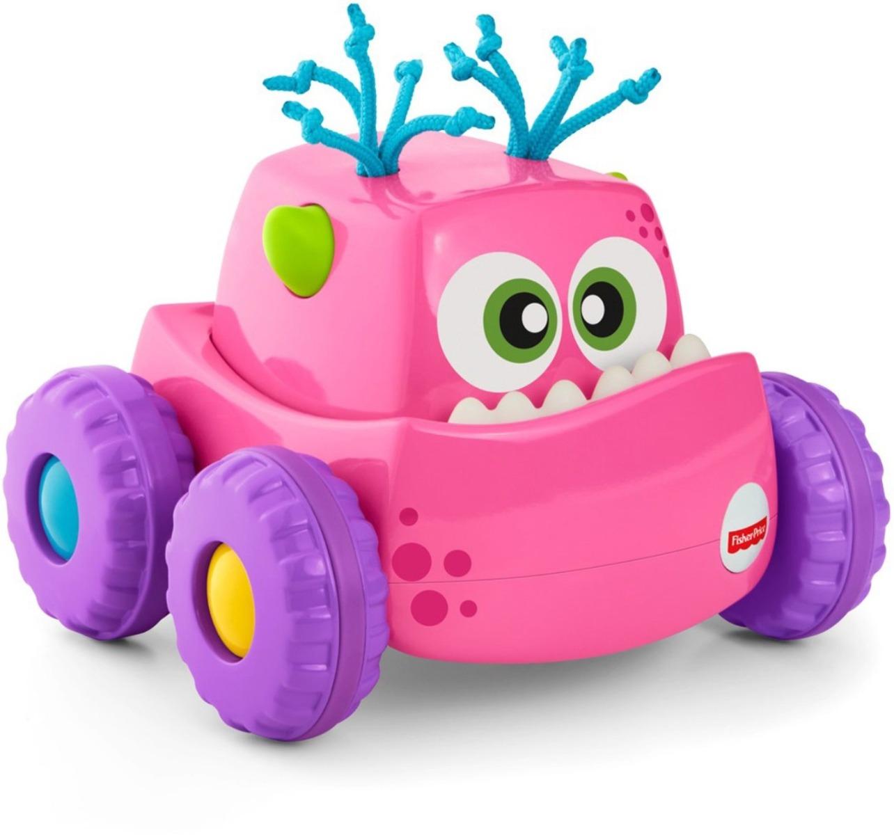 Jucarie pentru bebelusi masinuta monstrulet Fisher Price. Roz. DRG14