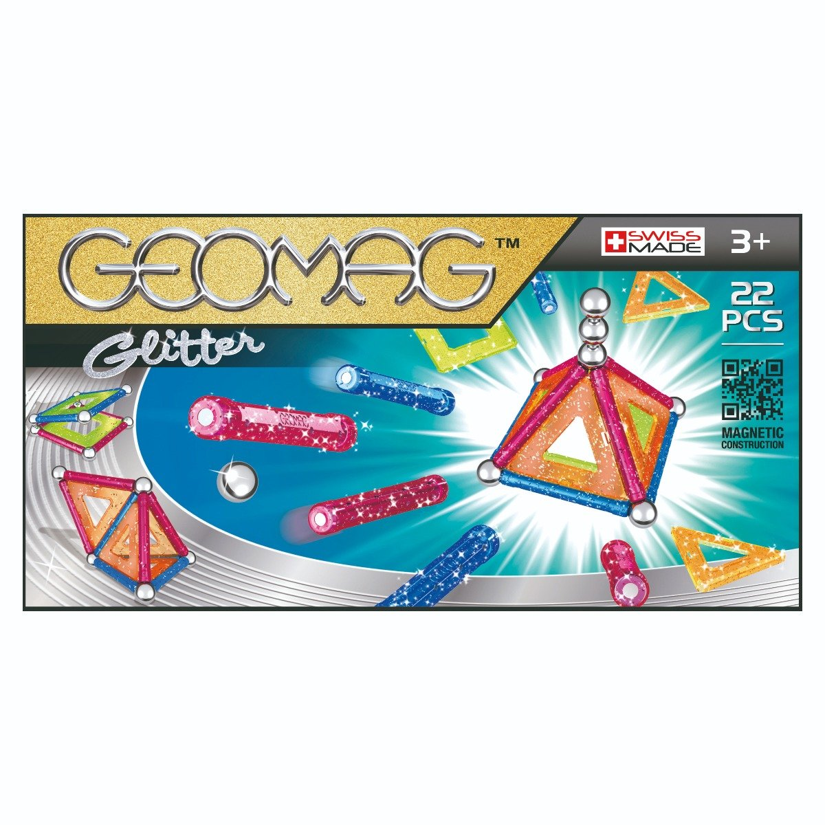 Joc de constructie magnetic Geomag Glitter. 22 piese