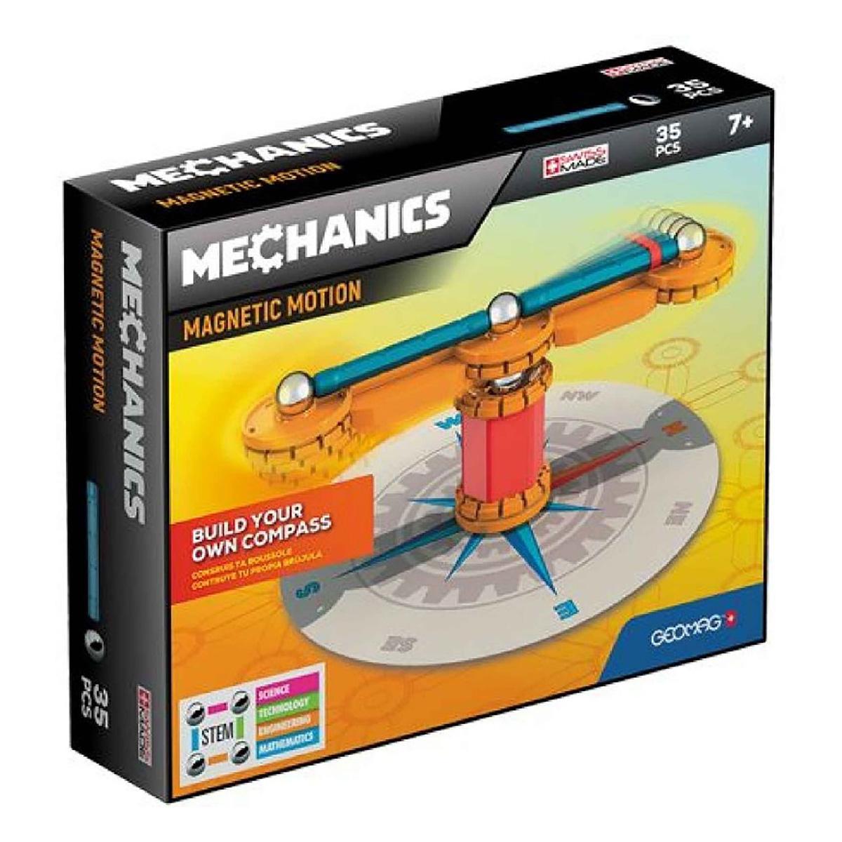 Joc de constructie magnetic Geomag Mechanics Motion. 35 piese