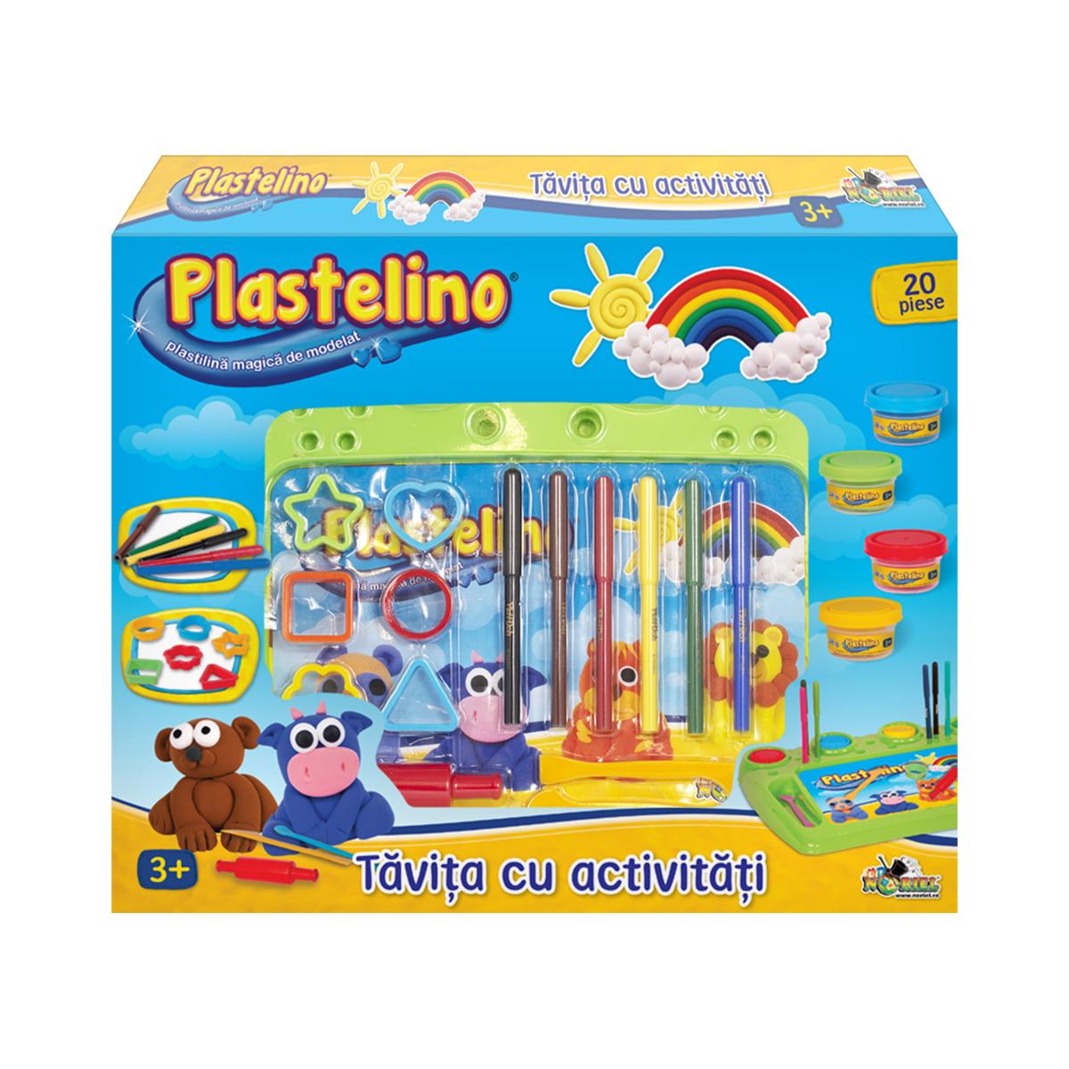 Set de modelare Plastelino. Tavita cu activitati. 20 piese