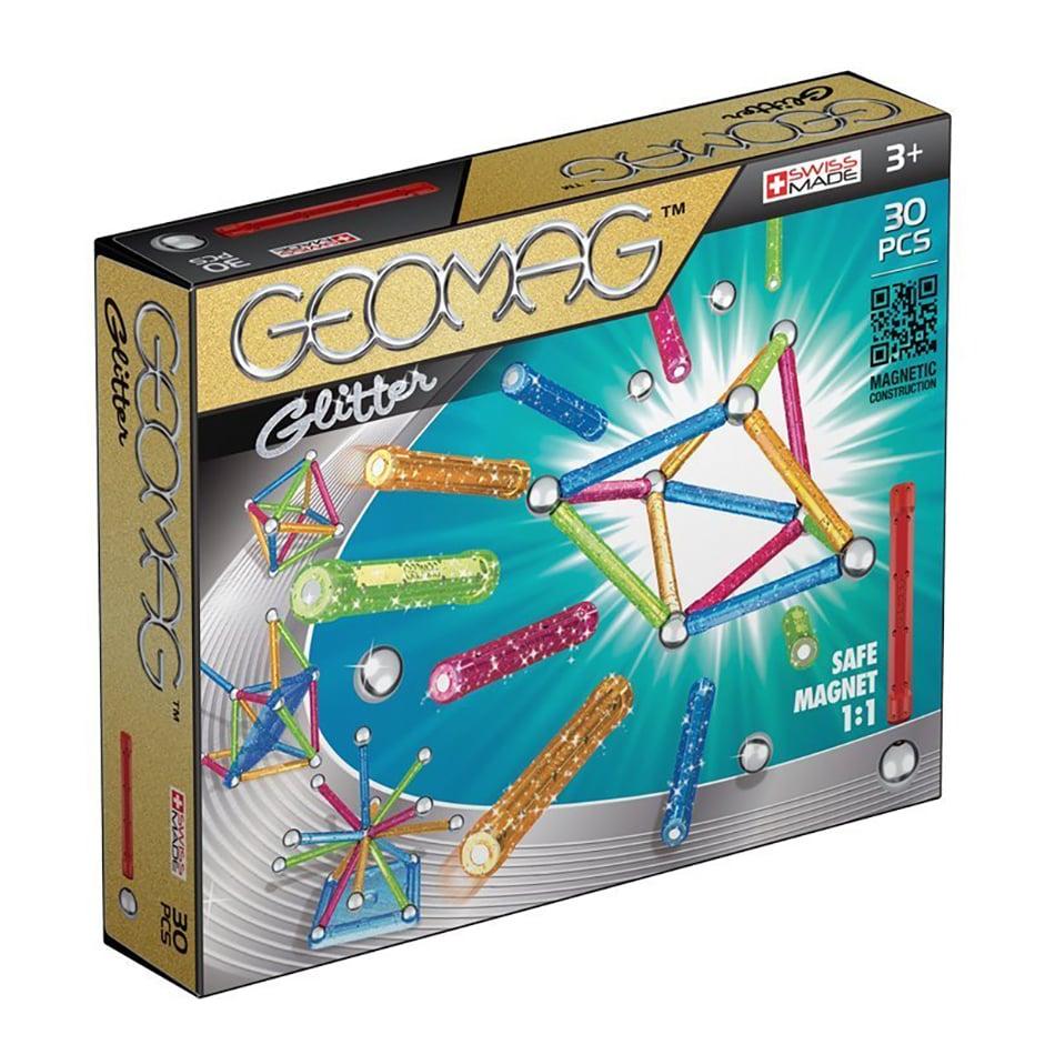 Joc de constructie magnetic Geomag Glitter. 30 piese