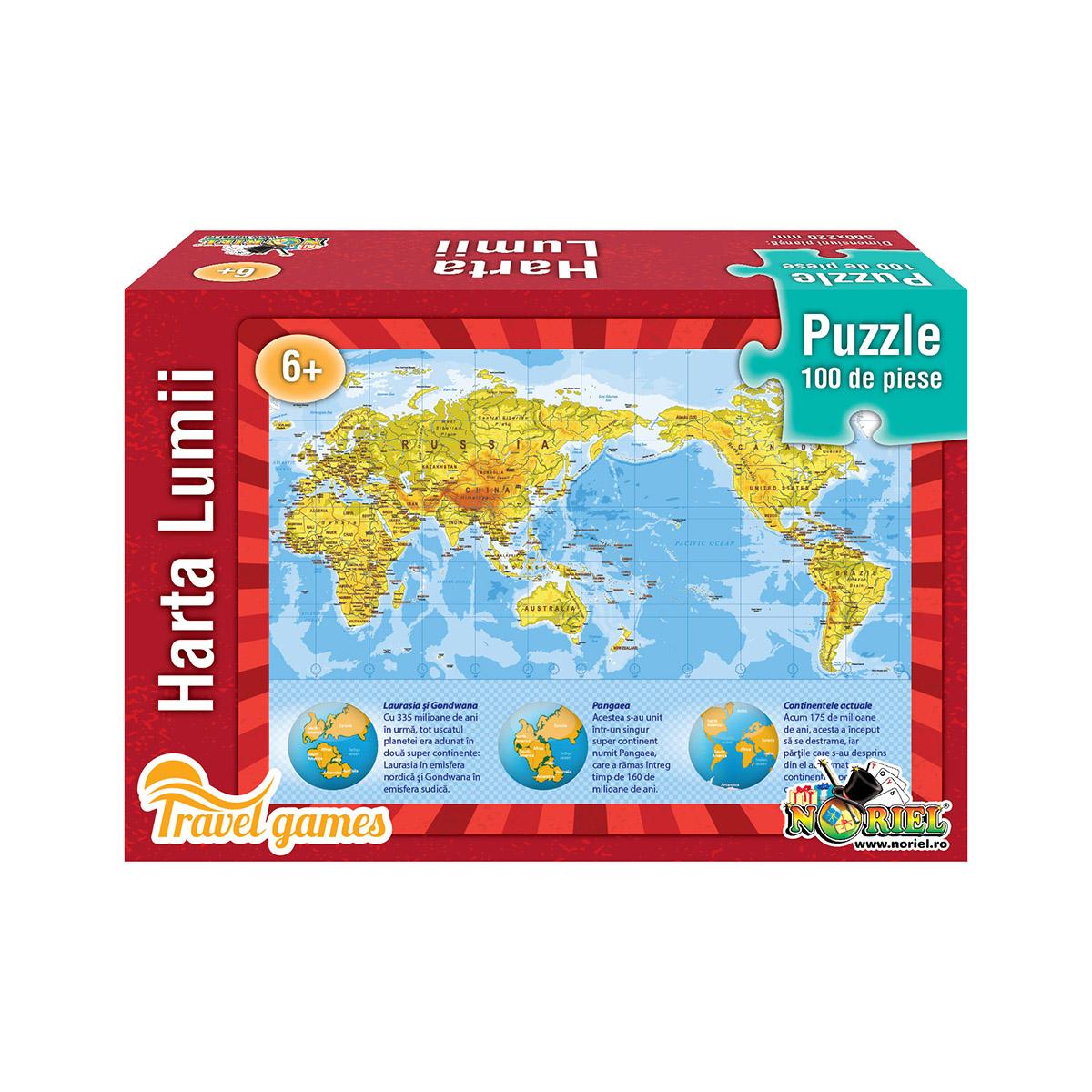 Puzzle educativ Noriel - Harta lumii. 100 piese