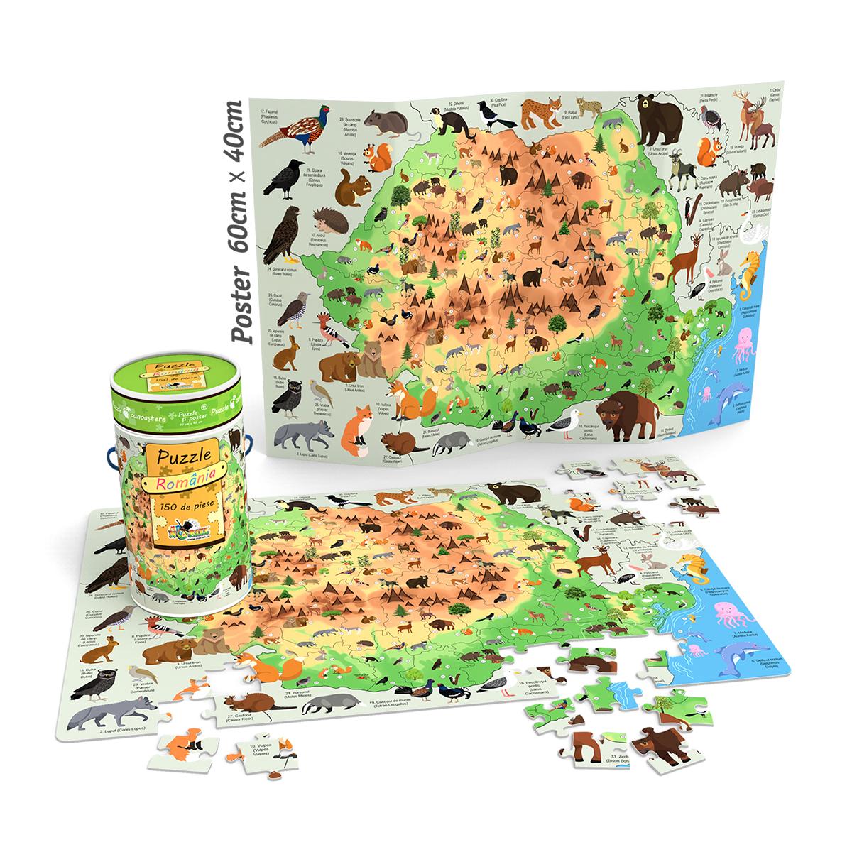 Puzzle Cunoastere Noriel - Harta Romaniei. 150 piese