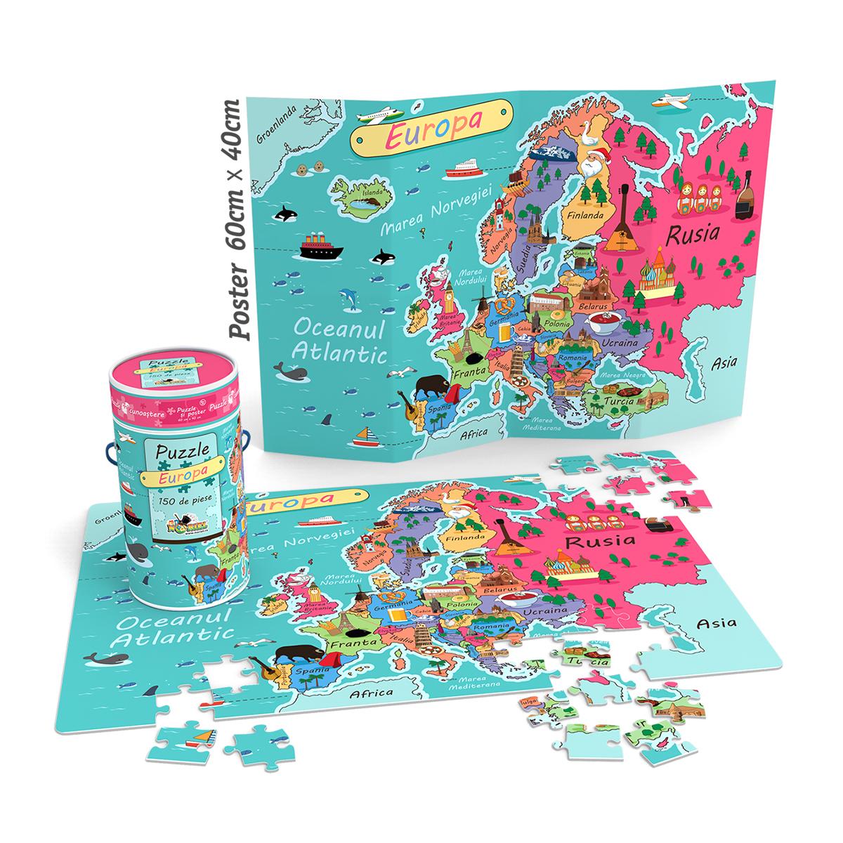 Puzzle Cunoastere Noriel - Harta Europei. 150 piese
