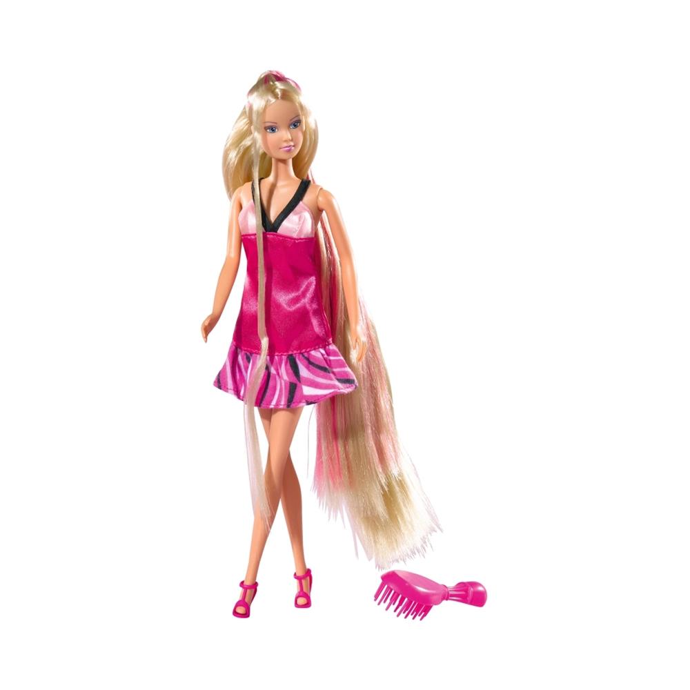Papusa Steffi Love - Ultra Hair cu rochie roz inchis