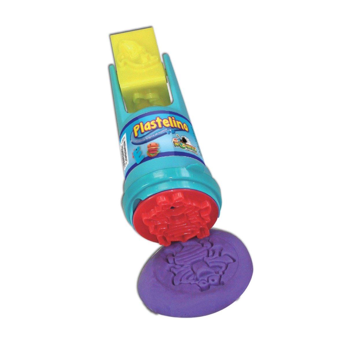 Plastelino - Tub rola cu stampila si plastilina - Galben