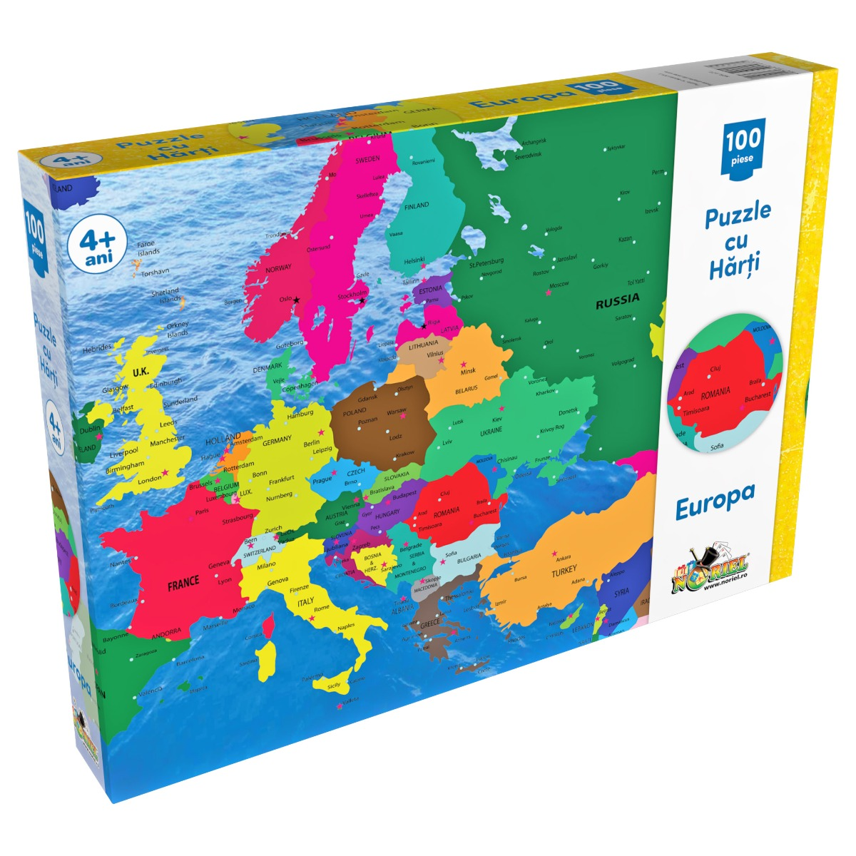 Puzzle Noriel cu harti 100 de piese - Harta Europei