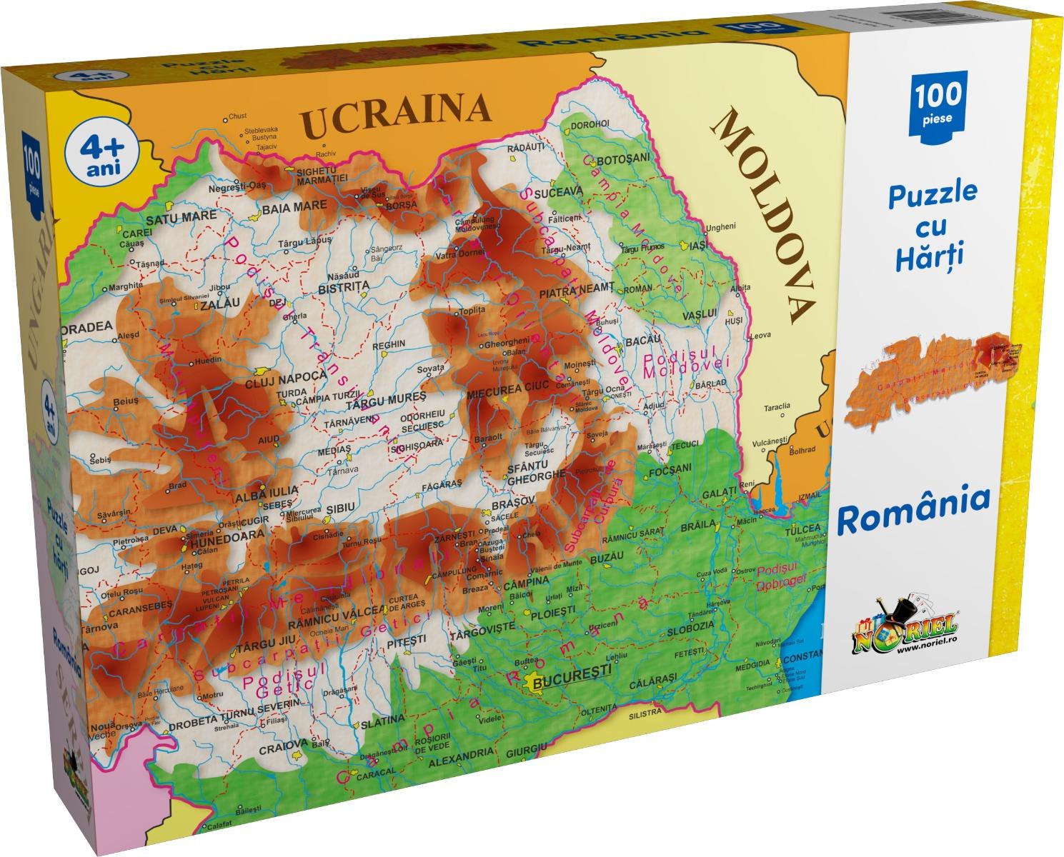 Puzzle Noriel cu harti 100 de piese - Harta Romaniei